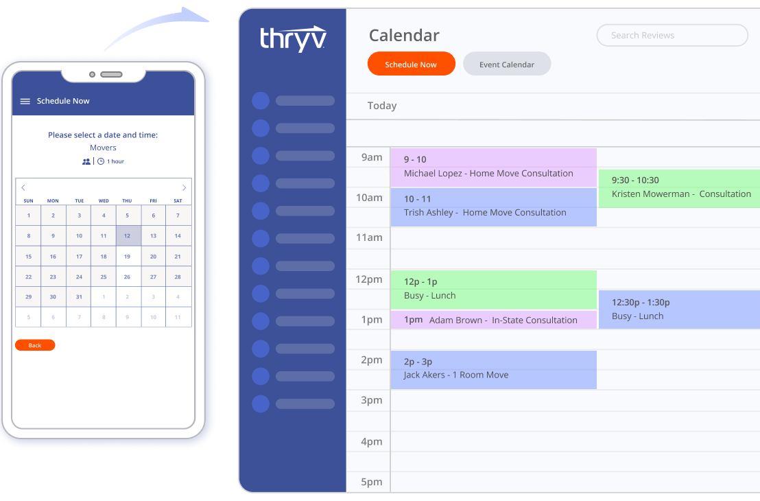Managing appointments and scheduling for moving and storage services with Thryv